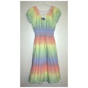 Other - Boho Rainbow Stripe Peasant Beach Dress L
